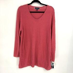 Karen Scott Coral Pink Textured Knit Sweater Tunic